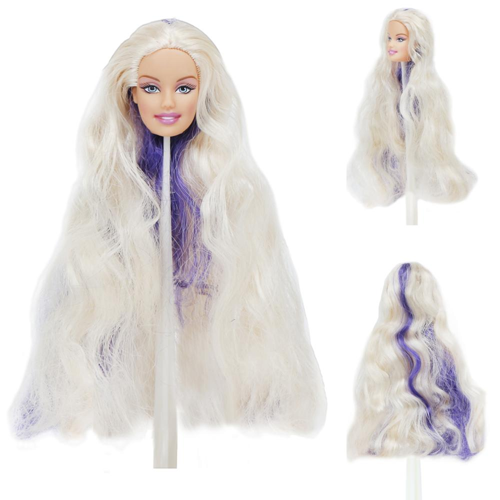 High Quality Fashion Doll Head For 12'' Doll White Purple Wave Curly Hair Cool Makeup DIY Dollhouse Accessories Toy 1/6