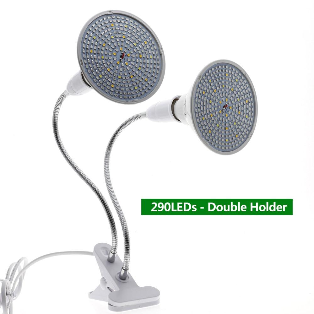 220V Phytolamp E27 полный спектр светодиодный Grow светильник гибкий металлический шланг зажим-по выращиванию светильник s Крытый Фито лампы для растений, цветы - Испускаемый цвет: 290 LEDs Double