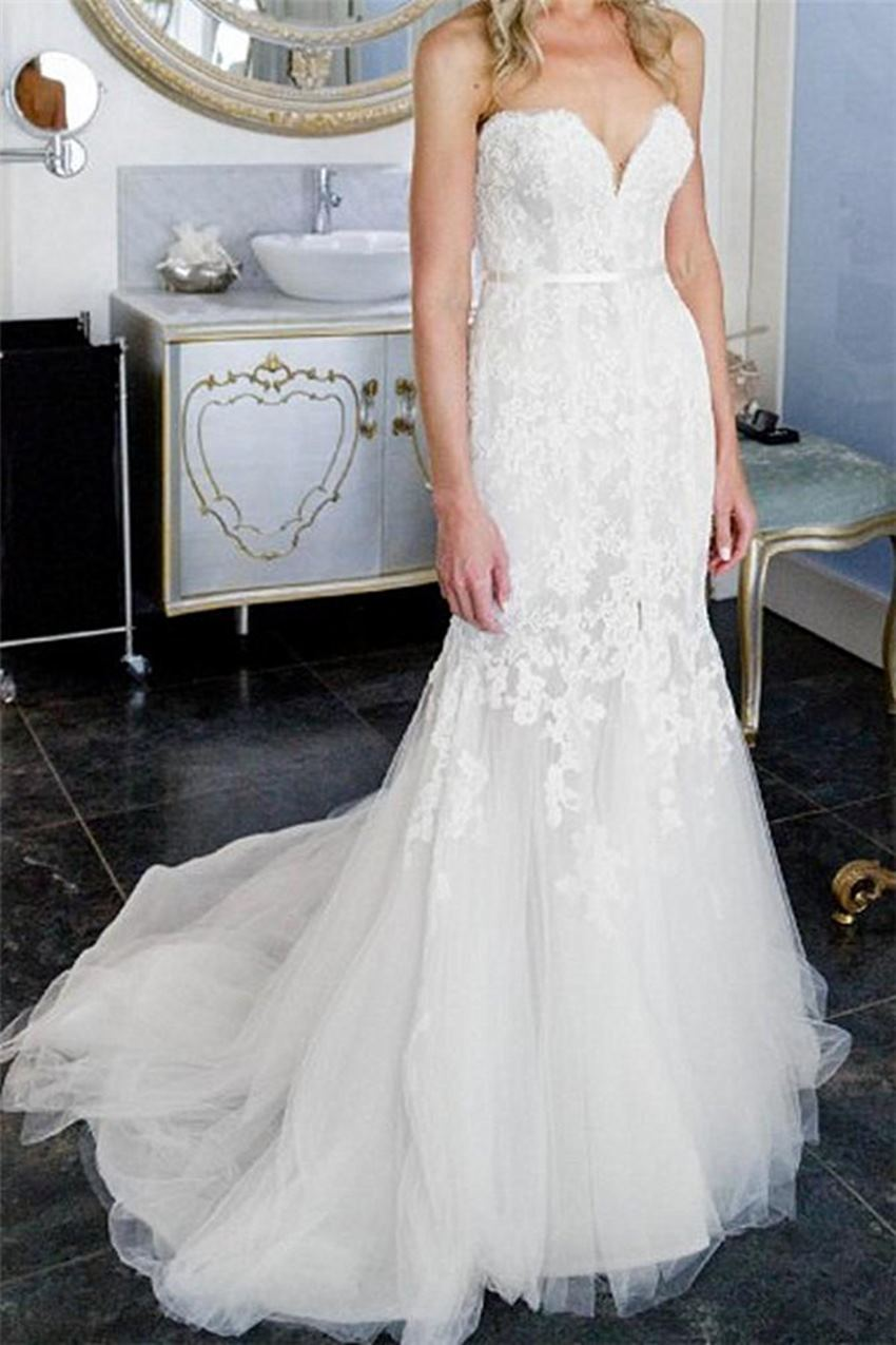 Exquisite Mermaid African Wedding Dresses Sweetheart Bridal With Lace Appliques Elegant Split Front Tulle Hot Sale Pretty Gowns Wedding Dresses Aliexpress,Hot Weather Simple Wedding Dresses 2020