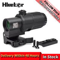 Hlurker Tactical Airsoft G33 3x magnifier Riflescope Magnifying Scope Focus Adjusted With Flip Up Mount For Red Dot Hunting Shot