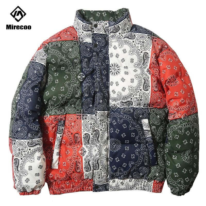 Куртка с узором пейсли, парка, Harajuku, пэчворк, цветная, Мужская зимняя ветровка, уличная одежда, стеганая куртка, пальто, теплая верхняя одежда, 2019
