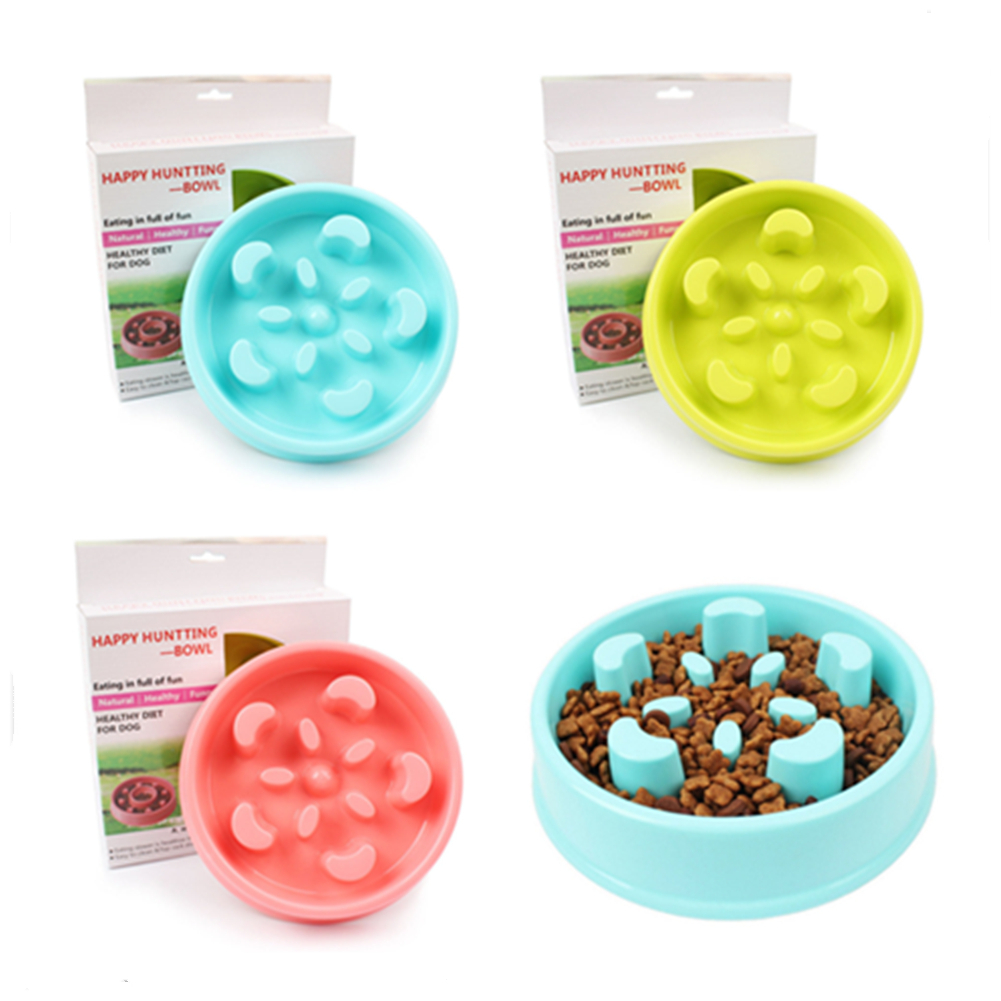 Bowl Pet Container Dog Dish Size Dog Cat Food Water Feeder Eat Slow Exercise Colorful Beautiful Supplies