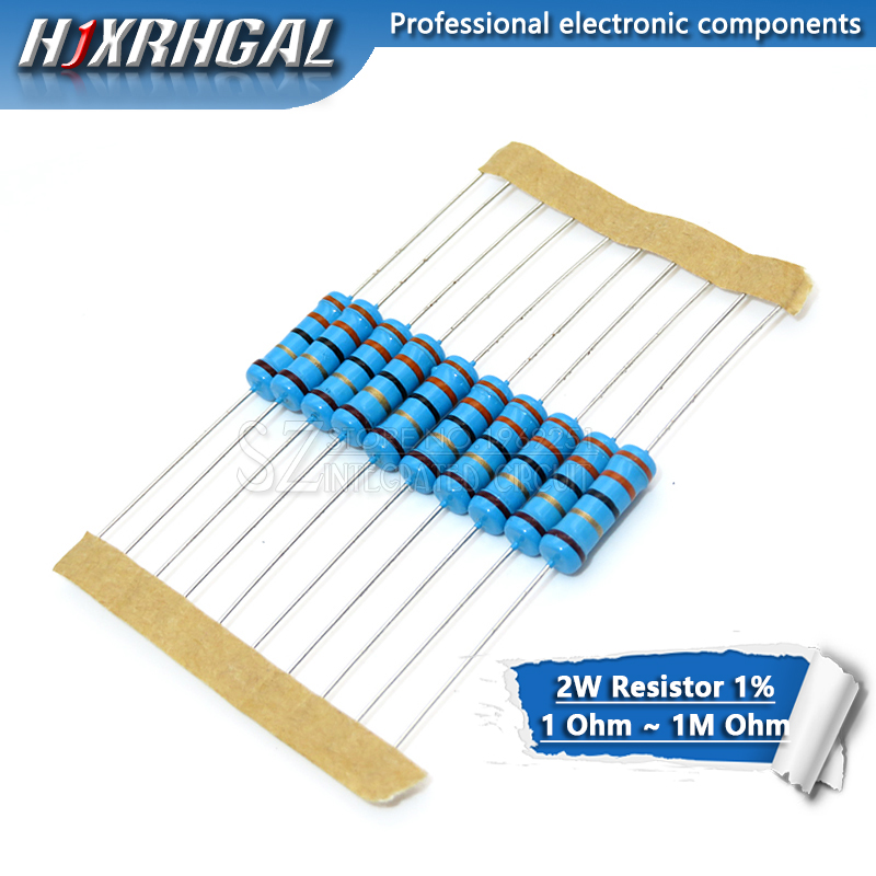 10pcs 2W Metal Film Resistor 1% 1R ~ 1M 2.2R 4.7R 10R 22R 47R 100R 220R 470R 1K 10K 100K 4.7 10 22 47 100 220 470 Ohm Hjxrhgal