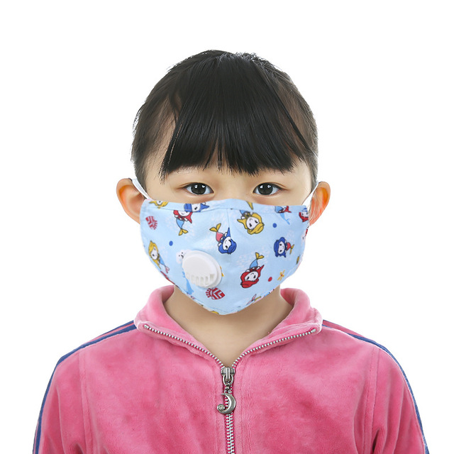 Fast Delivery Lovely Filter Washable Mouth Mask With Valve Kids Children Breathable Reusable Face Masks 5