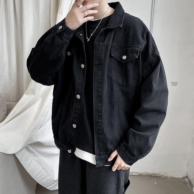 2020 Men Black Jeans Jacket Coats Casual Windbreaker Ribbons Pockets Men's Overalls Bomber Jacket Hip Hop Streetwear Man Outwear