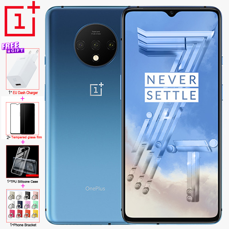 Global ROM Original OnePlus 7T Mobile Phone 6.55 90GHz 8G RAM 128 ROM Snapdragon 855 Plus 48MP 2X ZOOM Camera NFC gaming Phone image