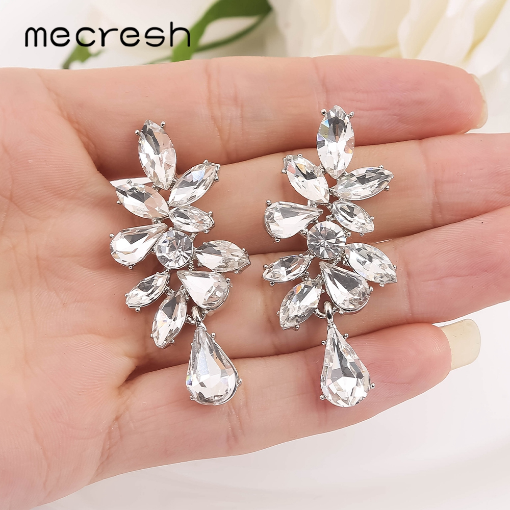 Mecresh Horse Eye Crystal Drop Earrings For Wedding Porm Party Cute Silver Color Leaf Pageant Competition Dangle Earrings EH1704
