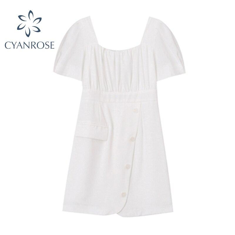 Мини-платье женское с коротким рукавом, офисное элегантное белое дизайнерское платье в Корейском стиле, с квадратным вырезом, лето 2021
