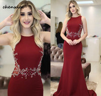 Dark Red Evening Dresses Long 2019 Elegant Beaded Crystals Sexy Mermaid Party Gowns Prom Dresses 2019 Couture robe de soiree