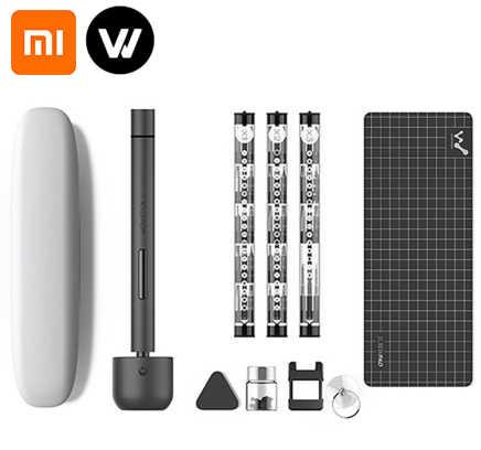 Xiaomi chave de fenda elétrica recarregável, kit de chave de fenda elétrica sem fio recarregável 1f pro com luz de led, bateria de lítio