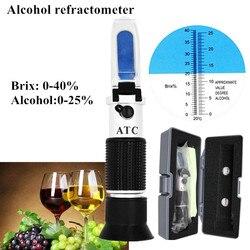 Ручной спиртовой рефрактометр, с функцией определения содержания сахара Brix 0-40% спиртовой спиртометр 0-25% рефрактометр с розничной коробкой ...