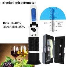 المحمولة الكحول الإنكسار السكر بركس 0 40% الكحول 0 25% مقياس الكحول السكر متر refratometro مع التجزئة مربع 40% قبالة