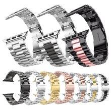 Correa de eslabones de Metal para Apple Watch 5, 4, 44mm, 40mm, serie iwatch 1, 2, 3, 42mm, 38mm, correa de acero inoxidable milanesa