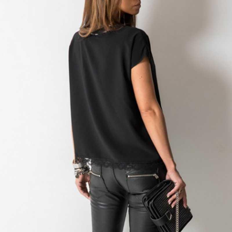 أسود مثير الدانتيل تي شيرت الصيف قصيرة الأكمام الخامس الرقبة تيز بلوزات على الموضة للنساء ملابس أنيقة السيدات قمصان عادية ملابس الشارع الشهير