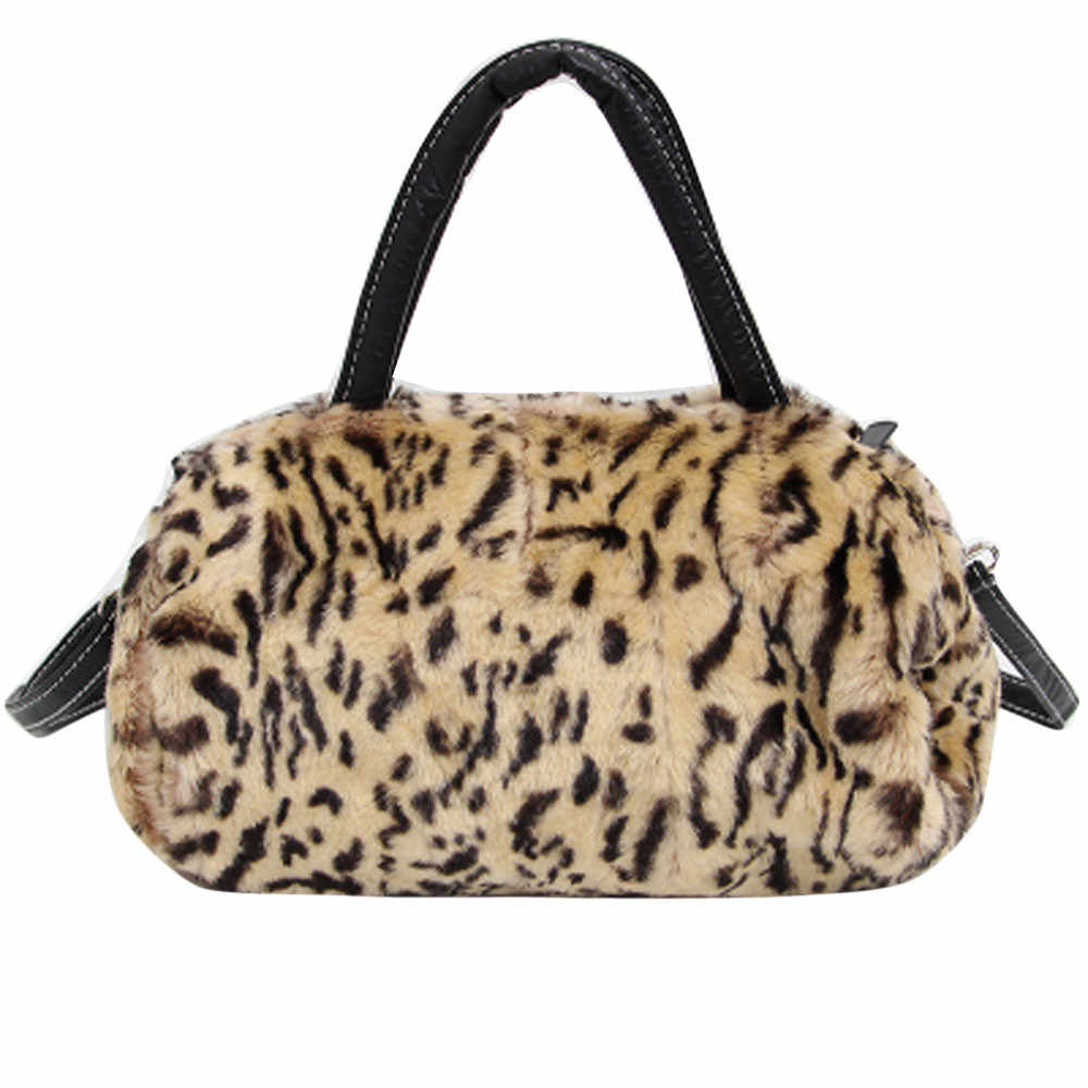 Femmes sac de messager léopard marque fausse fourrure femme sac à bandoulière pochette sac à bandoulière sac à main pour femmes Bolso Mujer # T1P