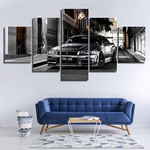 Fotos da lona decoração da arte parede quarto impressão 5 peças grande nissan skyline gtr carro poster quadros modulares quadro obras de arte