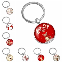 2019 Hot Sale of The Latest Christmas Cute Deer Pattern Series Glass Cabochon Keychain Fashion Jewelry Gift