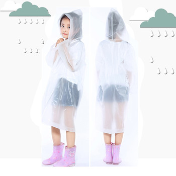Raincoats Thicker EVA Portable Reusable Children Rain Ponchos For 6-12 Years Old Boys Girls Rain Coa