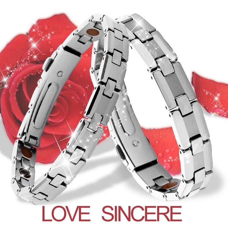 Bracelets d'équilibre magnétique d'acier inoxydable de femmes élégantes Bracelets d'hologramme de Bracelets porte-bonheur de santé
