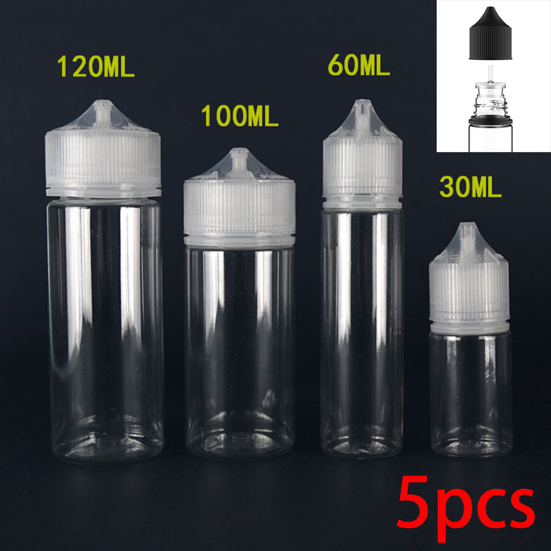 5pcs PET Transparent Dropper Bottles Empty Plastic E Liquid Juice Oil Clear Containers With CRC Caps New