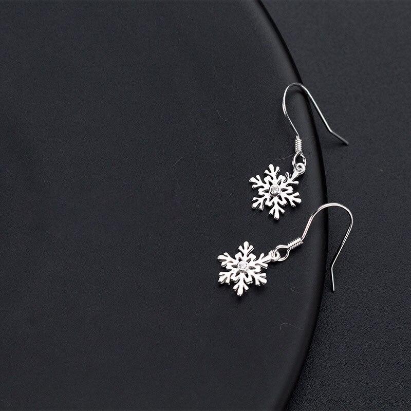 Snowflake Drop Hoop Dangle Hook Earrings 925 Sterling Silver Womens Jewellery UK