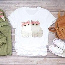 Женская футболка с мультяшным котом и цветком 90s модная женская
