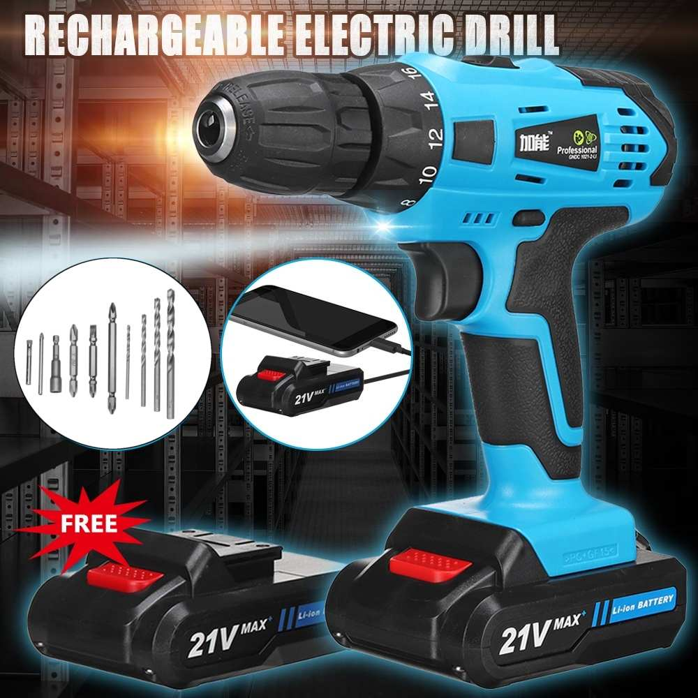 12V/21V Electric Screwdriver Hand Wrench Tool Set Multifunction Rechargeable Lithium Battery*2 Torque Electric Drill 2-Speed
