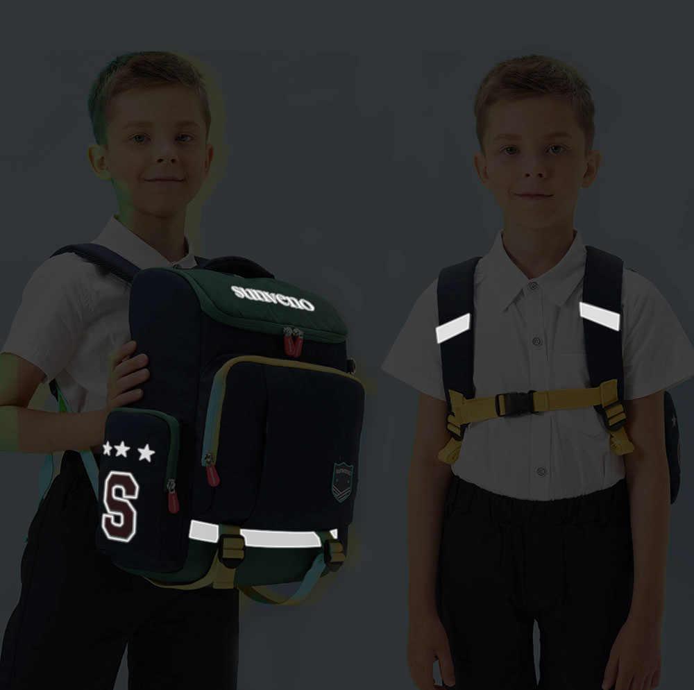 Sunveno Anak-anak Ransel Anak Sekolah Tas Remaja Sekolah Tahan Air Ransel dengan Strip Reflektif untuk Anak Laki-laki dan Perempuan