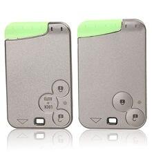 Jingyuqin 2 botões para renault, substituição de cartão de chave remoto, com lâmina, para renault laguna 2 clio 3 space auto chave inteligente do cartão,