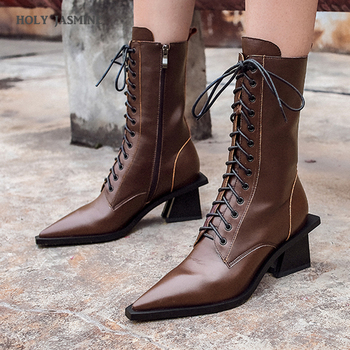 2020 New Genuine Leather Black Pointed Toe Women Ankle Boots Square Heel Autumn and Winter Female Ankle Boots High Heel Boots black ankle boots for women chunky boots high heel autumn winter pointed toe booties woman fashion zipper gray black boots 2019