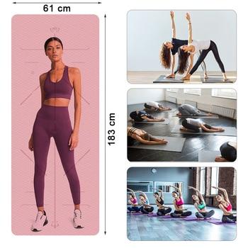 Double Sided Yoga Mat 183X60 CM Position Line Pilates Mats Gym Non Slip Fitness Mat