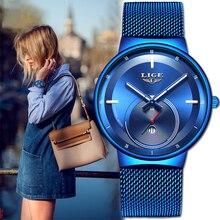 LIGE relógio de luxo para homens e mulheres, relógio de pulso ultrafino e impermeável feito em quartzo e de marca de luxo com pulseira de malha, 2020