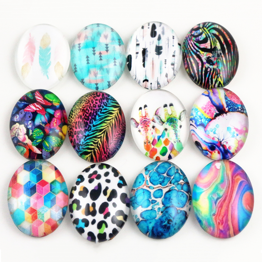 10pcs 18x25mm New Fashion Mixed Retro Series Handmade Photo Glass Cabochons Pattern Domed Jewelry Accessories Supplies-H6-03