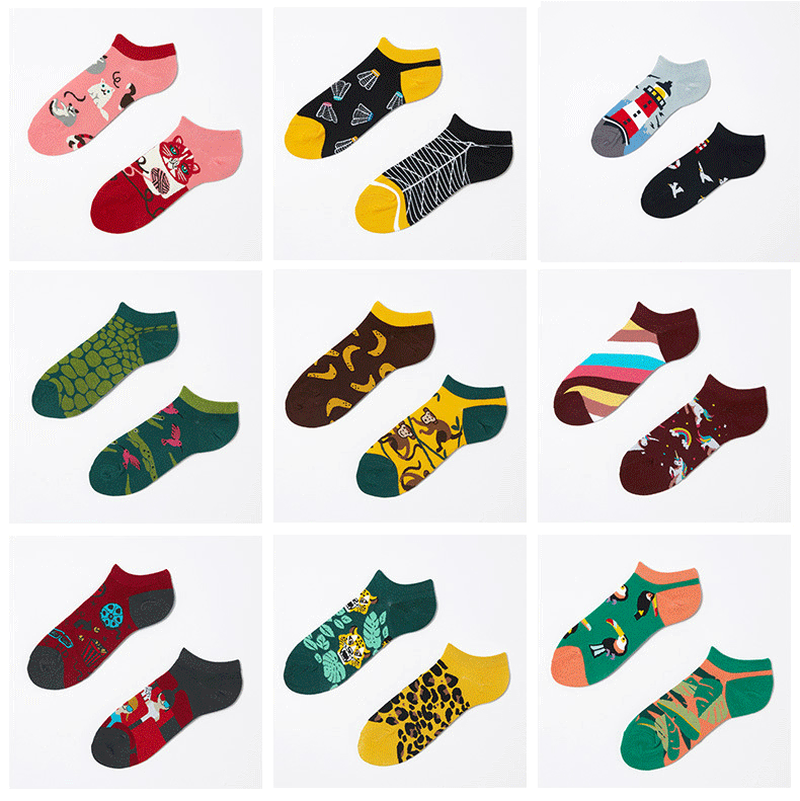 NEW Spring Summer AB Boat Fashion Creativity Funny Cute Women Socks Kawaii Harajuku Korean Couples Cotton GIfts For Socks Casual