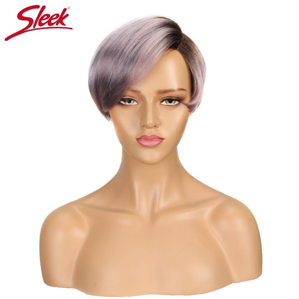 Sleek Short Human Hair Wigs 100% Remy Brazilian Hair Wigs 613 Blonde Lace Wigs L Part Pixie Cut Wig 8 Inch Short Wigs 150% Wigs