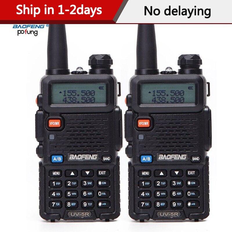 2 pçs baofeng BF-UV5R rádio amador portátil walkie talkie pofung UV-5R 5 w vhf/uhf rádio banda dupla rádio em dois sentidos uv 5r cb rádio