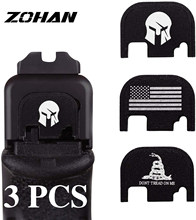 ZOHAN 3PCS Rear Cover Slide Back Plate Laser Engraved for Glock 17 19 21 22 23 24 26 Tactical Hunting Pistol Gun Accessories