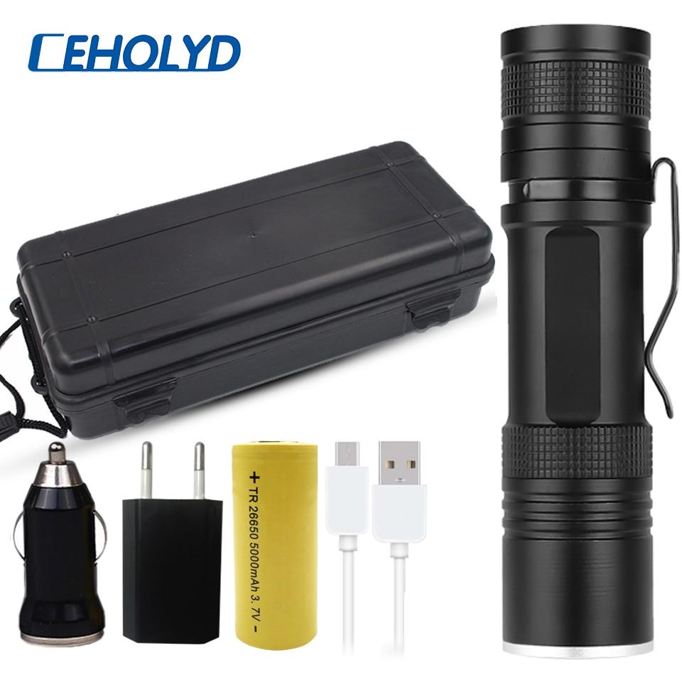 Most Powerful XLamp Xhp50.2 Usb Led Flashlight Zoom Torch Upgrade XHP50 18650 26650 Rechargeable Battery Flashlight