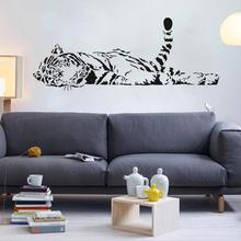 Removable Relaxing Tiger Animal Wall Sticker Living Room Wallpapers Decal Decor Removable, Easy to Apply, Pattern