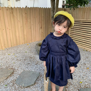 Image 1 - ¡Novedad de primavera! Conjuntos de ropa de algodón de estilo coreano, vestido de princesa de manga larga con mini falda a la moda para niñas bebé lindas.