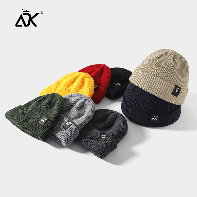 Winter Beanie ADK Label Skullcap Soft Bonnet Quality Slouchy Retro Gorros Short Fold Ribbed Hats Knitted Breathable Beanie Stret