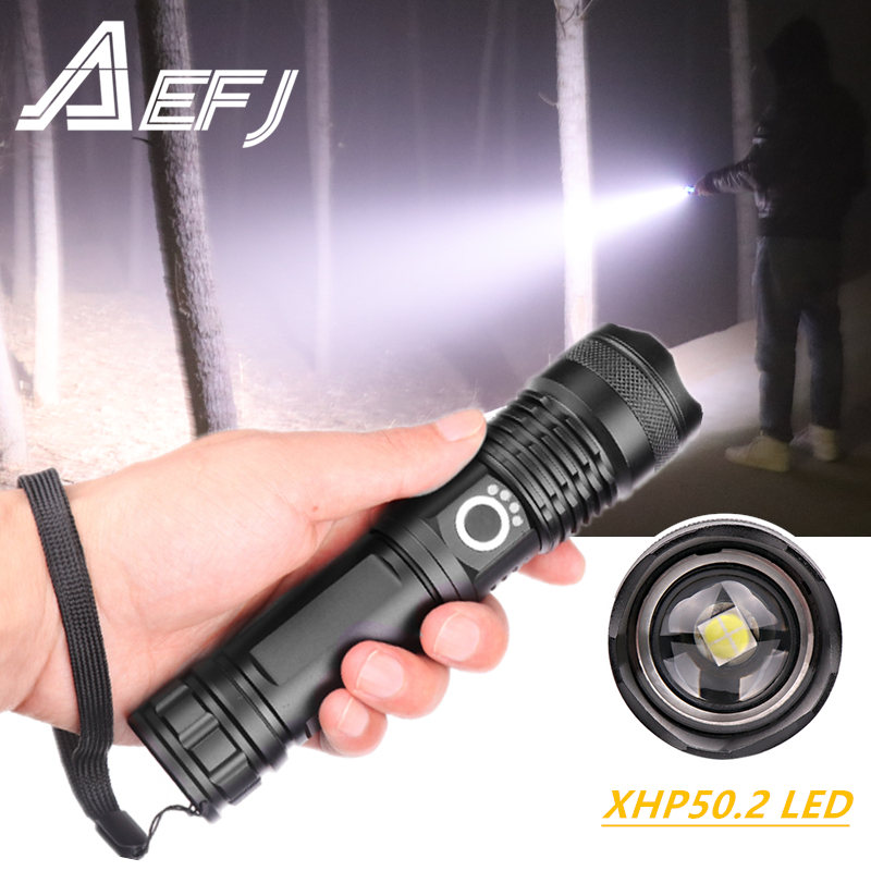 Dropshipping Powerful LED xhp50 2 most flashlight 5 Modes usb Zoom led torch xhp50 18650 or 26650 battery Best Camping Outdoor