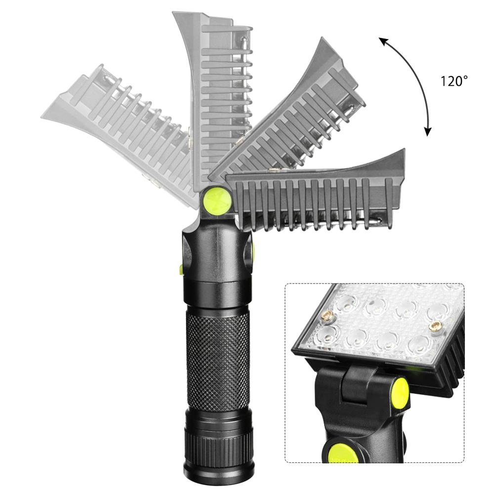Image 3 - 16 LEDs Work Flashlights White Red Blue Light Car Repair Working Lamp USB 18650 Torch Built in Magnet Hook Tent Camping Lantern-in LED Flashlights from Lights & Lighting