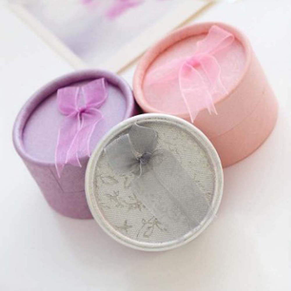 Round Jewelry Box With Knot For Earring & Ring Display Organizer Box Gift Boxes Jewellery Case Wedding Packaging