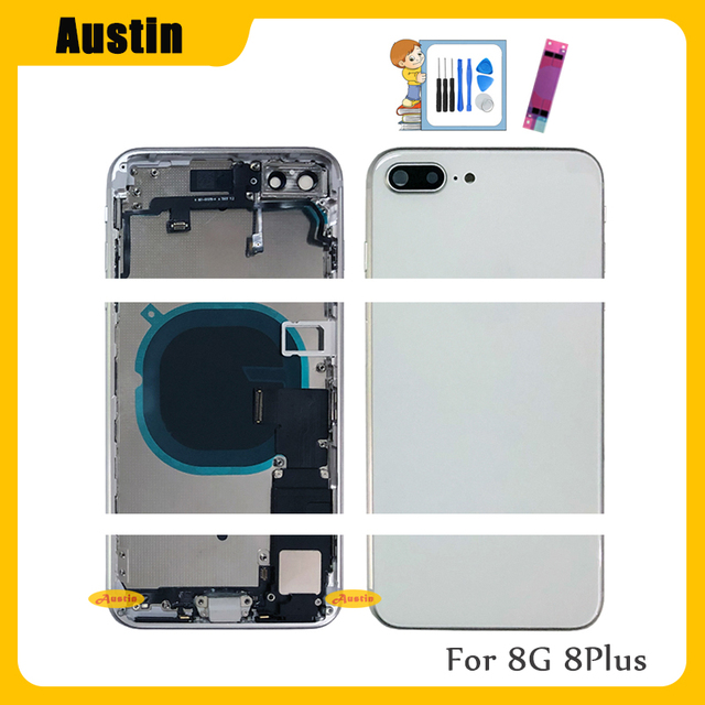Full Housing for Iphone 8 8G 8Plus Battery Back Cover Door Rear Case Middle Frame Chassis + Back Glass with Flex Cable Parts 8G 2