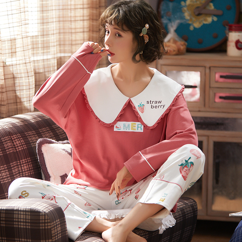 New Hot Sale Women Pajamas Set 2 /PCS Cotton Autumn Winter Cartoon Long Sleeve Cute Sleepwear Casual Homewear Female  Nightwear