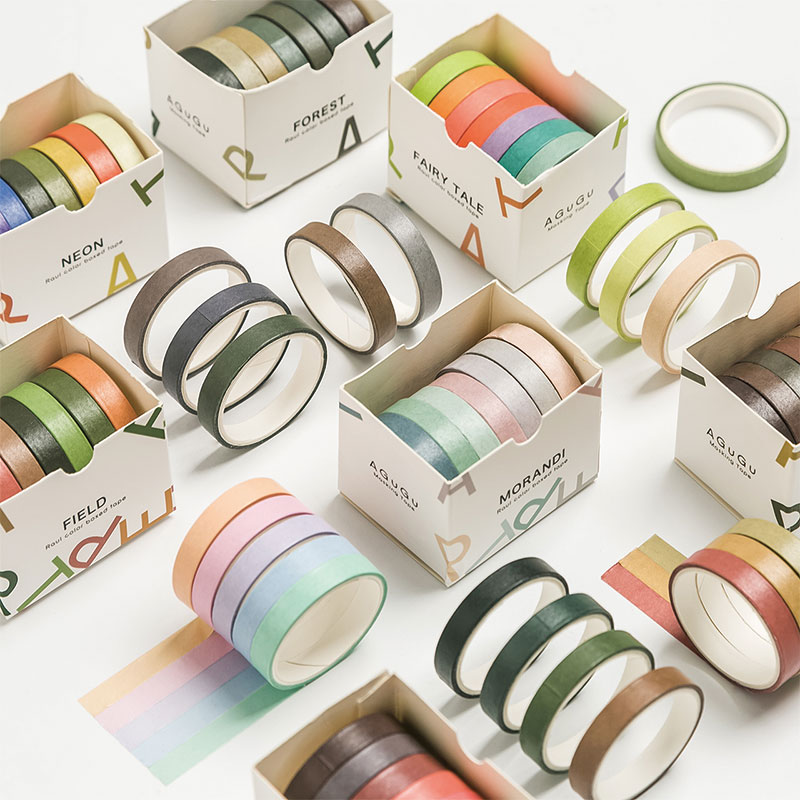 7pcs Raul Color Washi Tape Set 7mm Lace Sized Rainbow Retro Neon Colors Adhesive Masking Tapes Note Stickers Decoration A6144