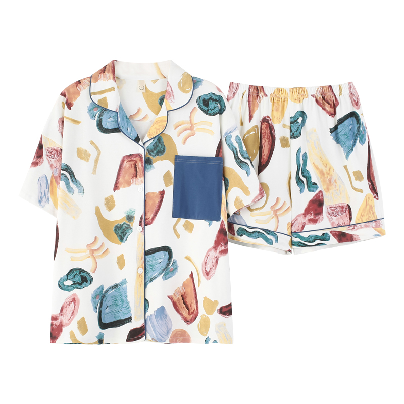 Caiyier Summer 2020 New Ladies Pajamas Set Cotton Blue Fresh Style Sleepwear Short Sleeve Top + Shorts Female Casual Nightwear