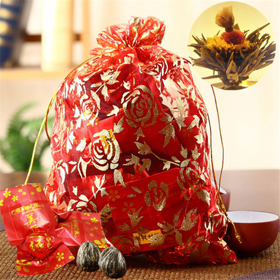 16 Pieces Blooming Tea 2019 Different Flower Handmade Flower Tea Chinese Flowering Balls Herbal Crafts Flowers Gift Packing