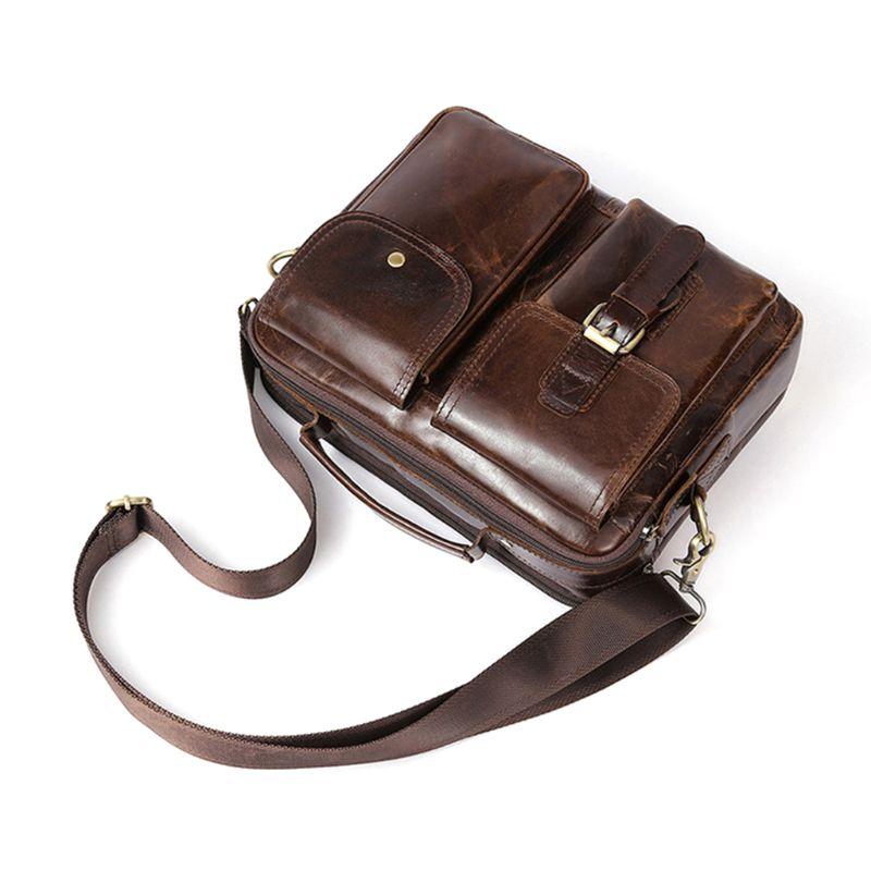Vintage Men's Leather Casual Messenger Bag Crossbody Briefcase Laptop Tote Handbag Shoulder Bags